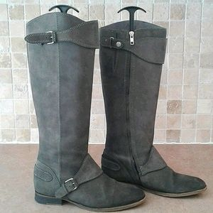 All Saints Hannover suede riding boot moto gray.